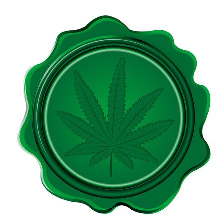 Marihuana-Blattwachssiegel auf weißem Hintergrund