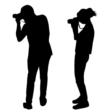Silhouette of man and woman photographers on white background