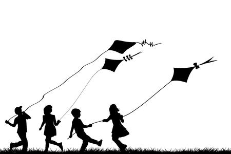 Siluetas de niños jugando con cometas