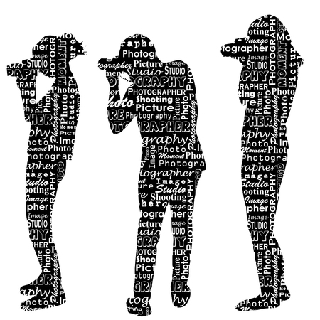 Silhouettes of photographers with messages words on the topic of photography Illustration