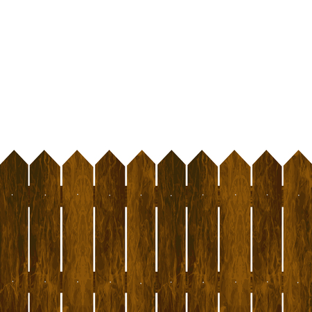 Wooden fence on a white background  イラスト・ベクター素材