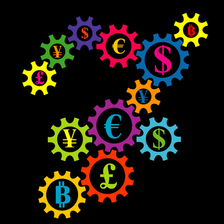 Abstract gearing with currency coins colorful background. International financial market interconnection concept