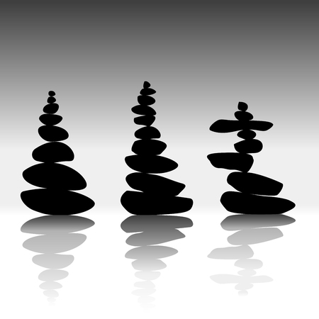 Relax zen stones balanced. Black pebbles isolated with shadows