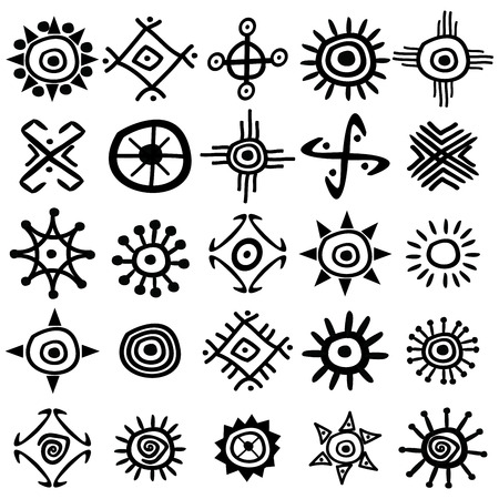 Collection of ancient hand drawn sun symbols