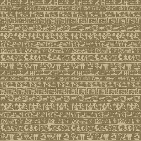 Ancient egyptian hieroglyphs seamless background  イラスト・ベクター素材