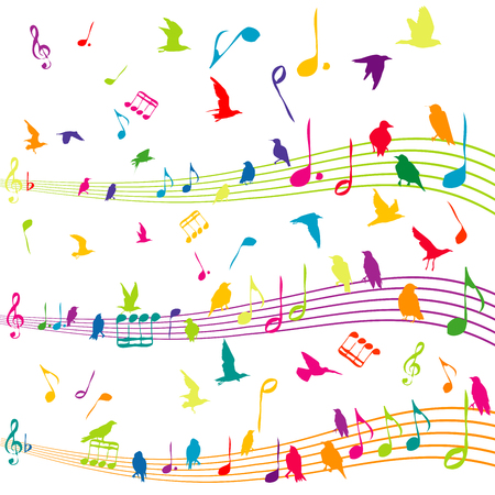 Abstract colored illustration with music note with silhouettes of birds flying Vector Illustration