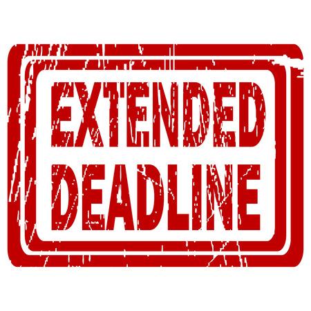 Verlengde deadline rode rubberen stempel