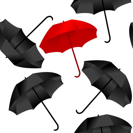 Opened red and black umbrellas on white background Ilustracja