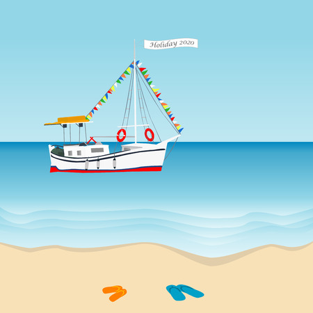 Summer holiday 2020 concept with sailboat in the sea and slippers on the beach