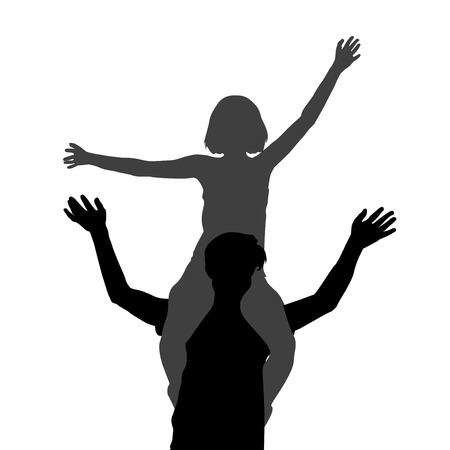 Silhouette of a girl sitting on her boyfriend shoulders  イラスト・ベクター素材