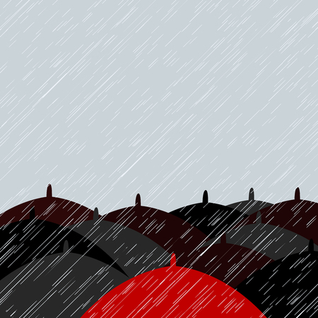 Red umbrella and many black umbrellas background with place for text