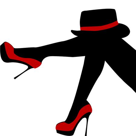 Piernas de mujer hermosa con zapatos rojos y sombrero
