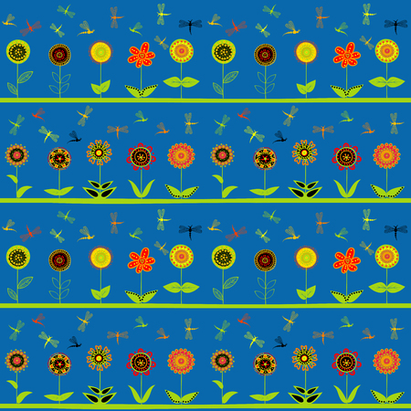 Rows of flowers and stylized dragonflies wrapping paper