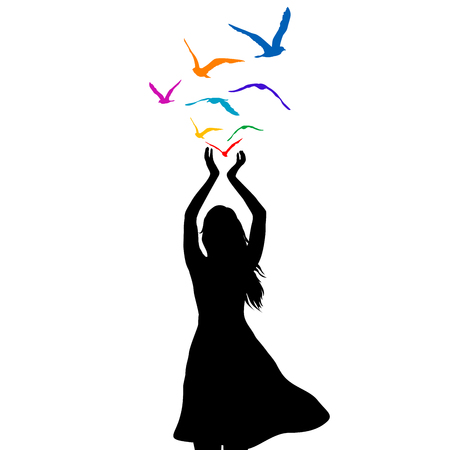 Abstract illustration of a woman silhouette with colored birds flying from her hands