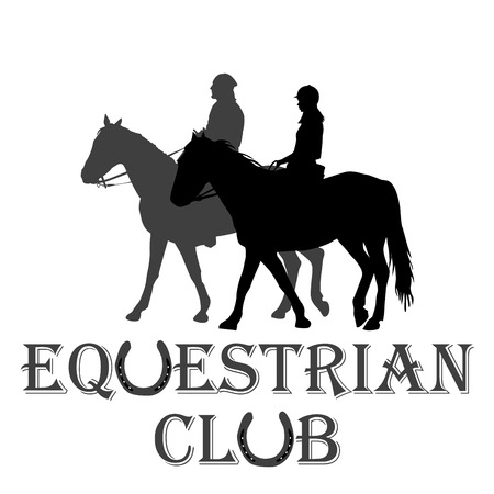 Equestrian club advertising with silhouettes of horse riders