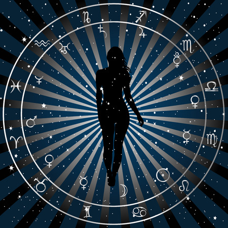 Astrological zodiac horoscope background with silhouette of woman. Astrology concept poster Illustration