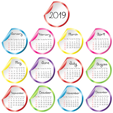 2019 Calendar with round glossy stickers