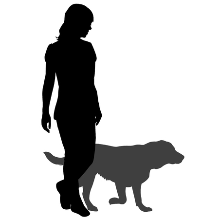 Silhouette of a woman with a dog on a walk Ilustração