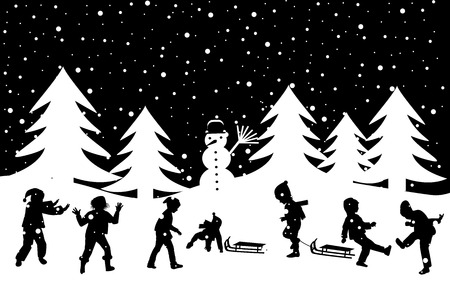 Black and white winter greeting card with kids playing in the snow Illustration
