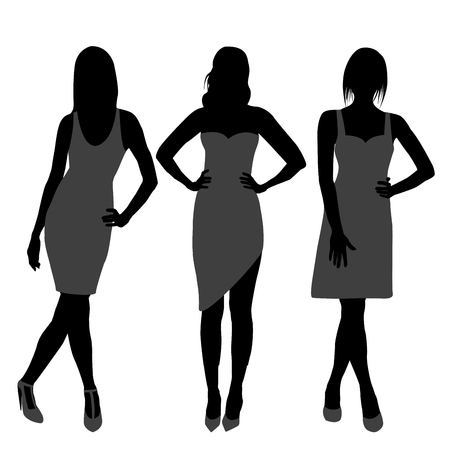 Silhouette of three fashion girls top models Illustration