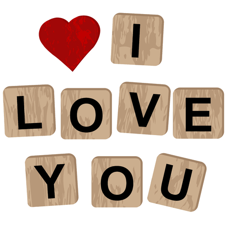 Wooden blocks spelling the inscription I love you on white background Ilustração