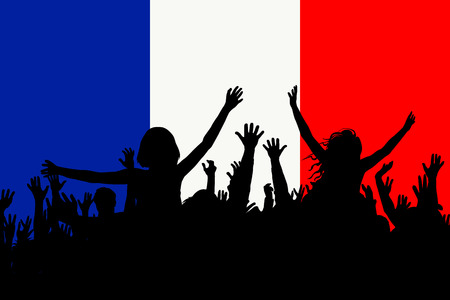 People silhouettes celebrating France national day