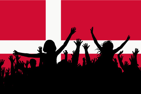 People silhouettes celebrating Denmark national day Ilustrace