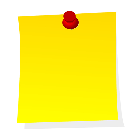 Blank note yellow paper sticker with red push pin