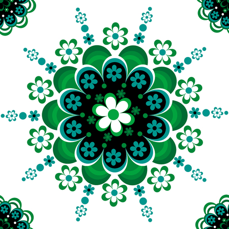 Green floral ornament seamless pattern for ceramic, porcelain, chinaware design