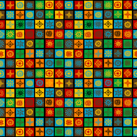 Colorful seamless background with ethnic symbols in squares