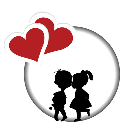 Round frame with silhouette of a boy and a girl kissing and two hearts Illustration
