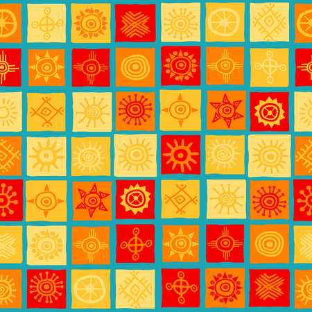 Sun symbols on squares seamless background