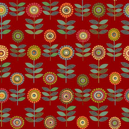 Floral seamless pattern with rows of flowers Ilustração