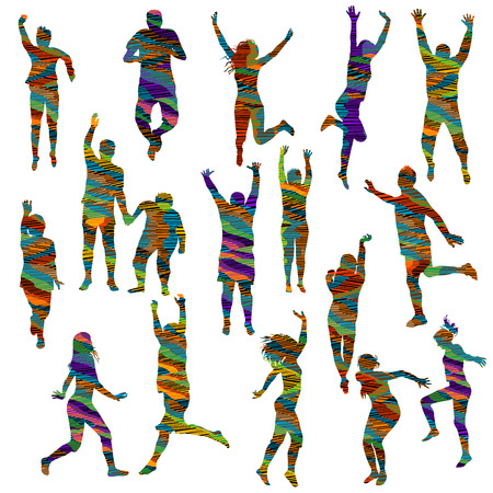 Striped colorful silhouettes of women and men