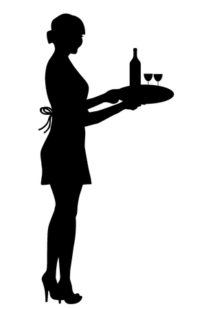 Waitress silhouette holding a tray with wine glasses and a bottle Stock Illustratie