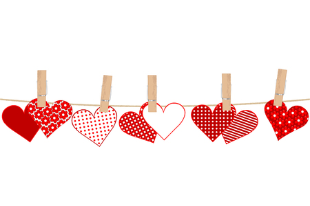 Valentines day concept with hearts and clothes pegs on rope Ilustração Vetorial