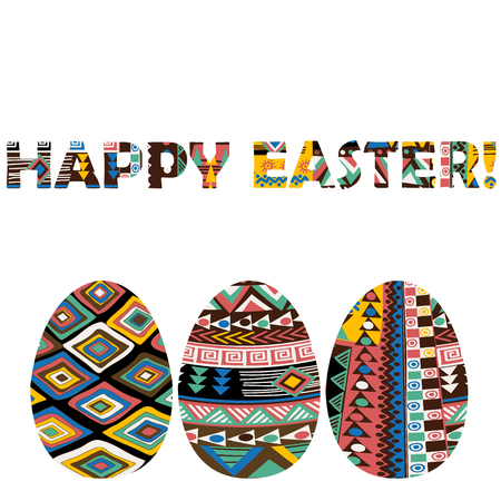 Easter greeting card with ethnic motifs eggs