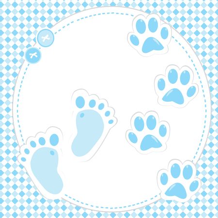 Cute baby boy footprint and paws Иллюстрация