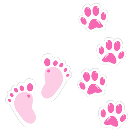Cute pink baby footprint and pet paws