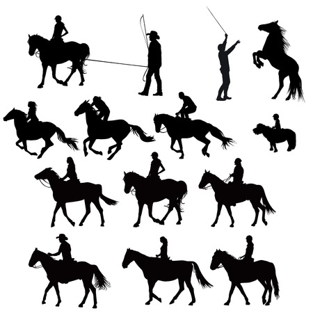 Silhouettes of horse riders in training Ilustrace