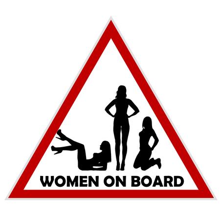 Women on board warning sign Illustration