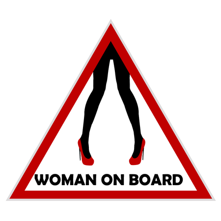 Woman on board driving sign Illustration