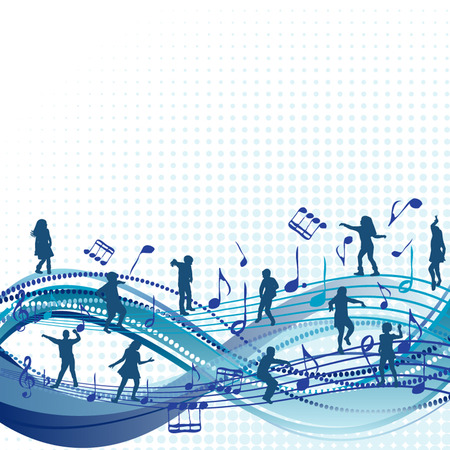 Music abstract background with children silhouettes