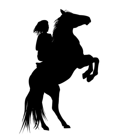 Silhouette of a girl and and her rearing stallion