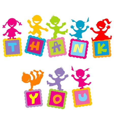 Thank you card with cartoon colored kids Vector Illustration