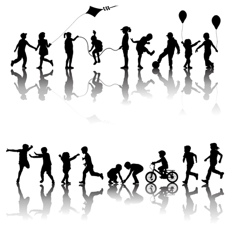 Two sets of black children silhouettes playing