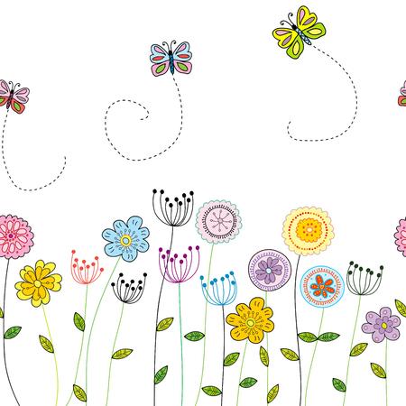 Frontera floral divertida sin costuras con doodle flores y mariposas