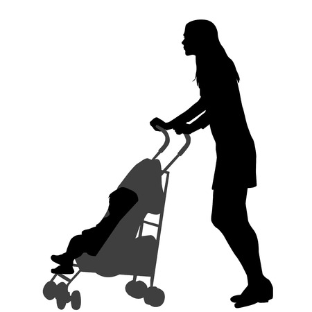Mother walking while pushing a stroller. Silhouette on white background Ilustração