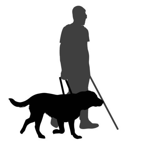 Ciego con bastón y perro guía Ilustración de vector