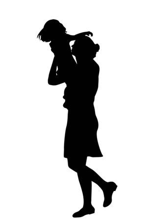 Silhouette of boy holding a ball Illustration